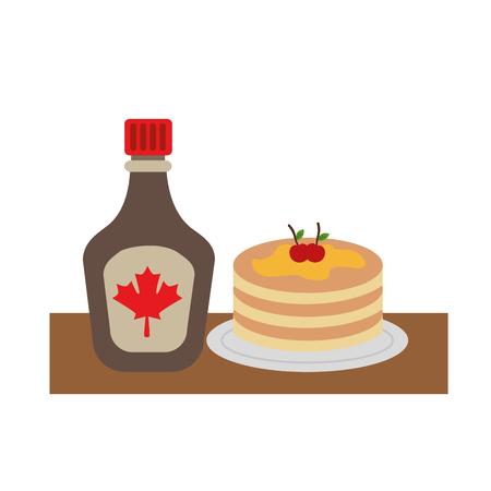 ボトルシロップメープルベクターイラストデザインのパンケーキ