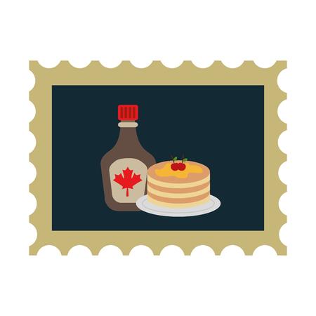 Pannekoek en flessensiroop in ontwerp van de postzegel het vectorillustratie Stockfoto - 98559975