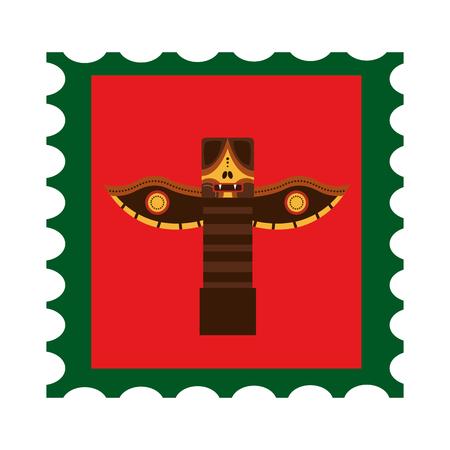 Canadian totem in postage stamp vector illustration design
