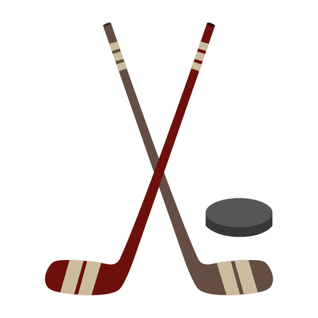 Bâtons de hockey croisés et le design de vecteur de rondelle illustration Banque d'images - 98559978