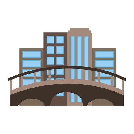 cityscape with bridge scene vector illustration design
