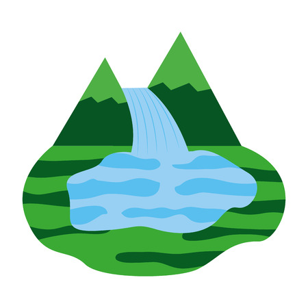 mountains with waterfall scene vector illustration design Imagens - 98575110
