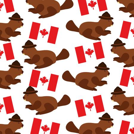 Biber mit Hut und kanadischen Flagge Muster Vektor Illustration Design Standard-Bild - 98560965