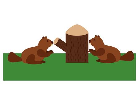 beavers with trunk tree scene vector illustration design Stock Illustratie