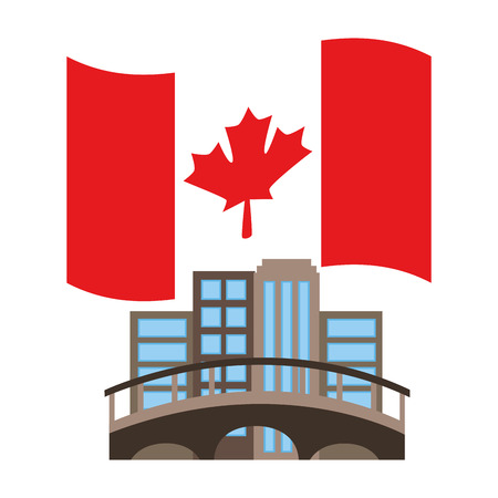 cityscape with bridge and canadian flag vector illustration design 일러스트