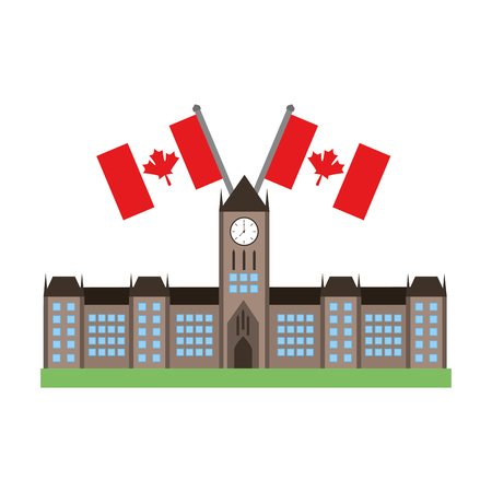 ottawa parliament building with canadian flags vector illustration desing 版權商用圖片 - 98575143