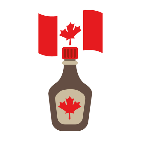 bottle syrup maple and canadian flag vector illustration design