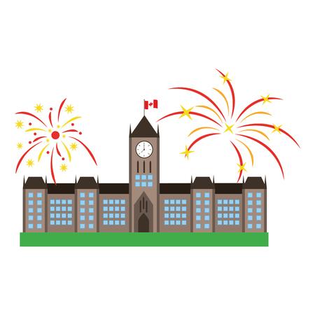 오타와 의회 건물 및 불꽃 놀이 벡터 일러스트 레이 션 디자인 스톡 콘텐츠 - 98575149