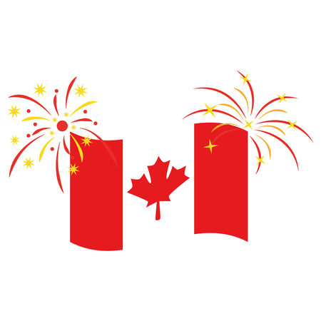 canadian flag with fireworks vector illustration design