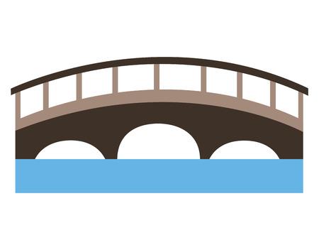 bridge with water scene vector illustration design  イラスト・ベクター素材