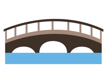 bridge with water scene vector illustration design Ilustração