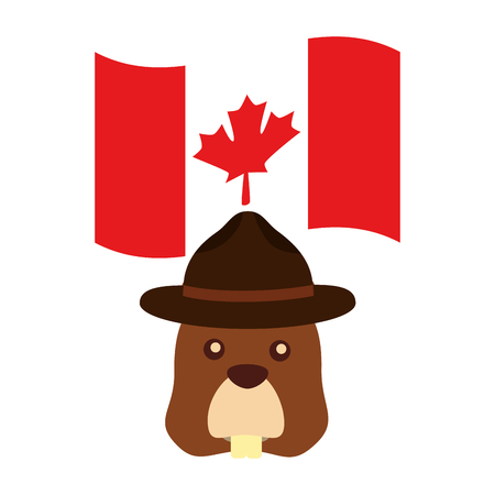 beaver with hat and canadian flagvector illustration design