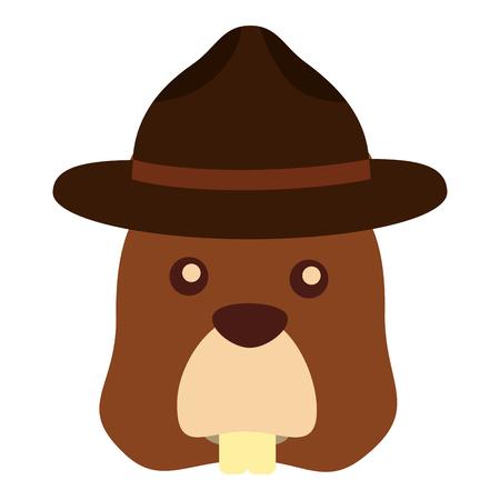 beaver with hat character vector illustration design Иллюстрация