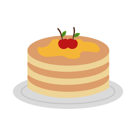 pancake with syrup maple on dish vector illustration design