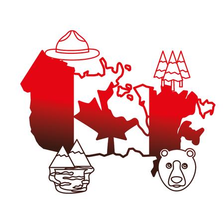 フラグを持つカナダのマップと設定アイコンベクトルイラストアウトライン