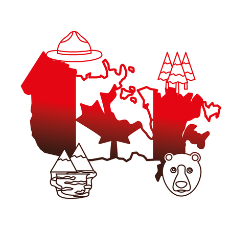 canadian map with flag and set icons vector illustration outline Banco de Imagens - 98575228