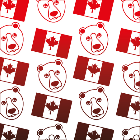 canada flag and grizzly bear pattern background vector illustration design Illustration