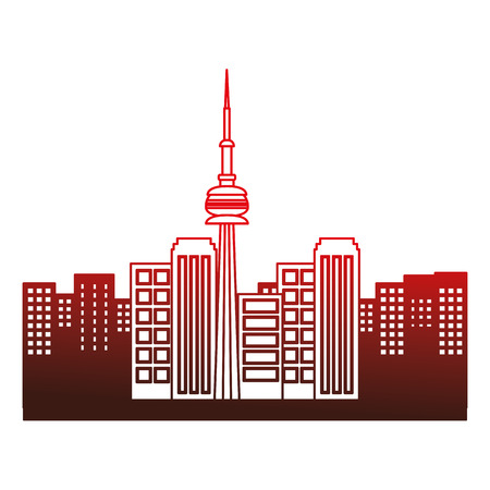 toronto canada city scene vector illustration outline