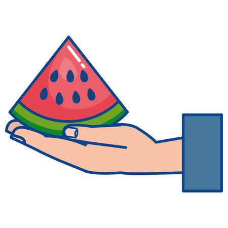 hand lifting fresh watermelon fruit icon vector illustration design Ilustração