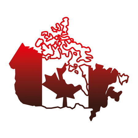 canadian map with flag vector illustration design