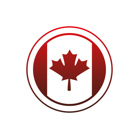 flag of canada button vector illustration design