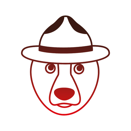 grizzly bear with hat vector illustration design