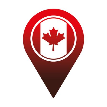 Kanadische Flagge in Zeiger Standort Vektor-Illustration Design Standard-Bild - 98575267