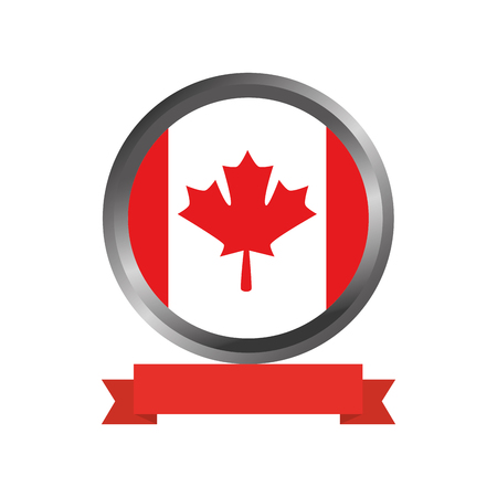 canadian flag in button vector illustration design Ilustrace
