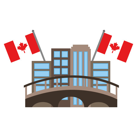 cityscape with bridge and canadian flags vector illustration design