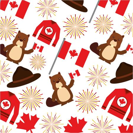 canadian flag with fireworks and beaver pattern vector illustration design Illustration