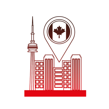 toronto cityscape with pointer location vector illustration design