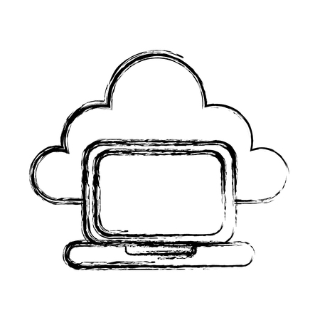 laptop with cloud computing icon vector illustration design