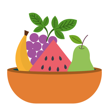 dish with fresh fruits vector illustration design