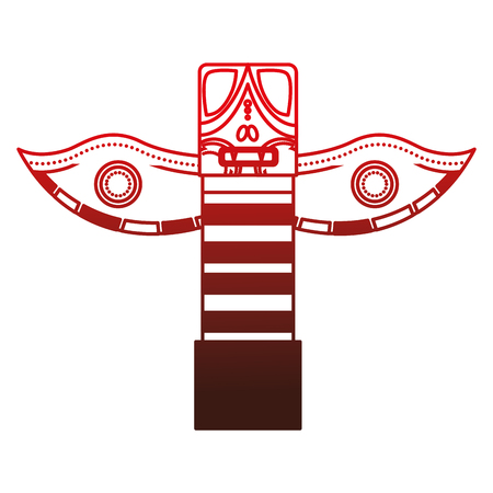 canadian totem wooden icon vector illustration design