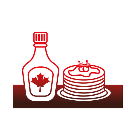 pancake with bottle syrup maple vector illustration design Ilustracja