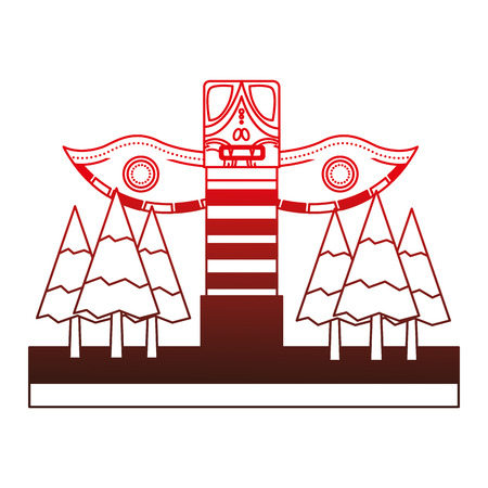 wooden totem in forest pine trees vector illustration design