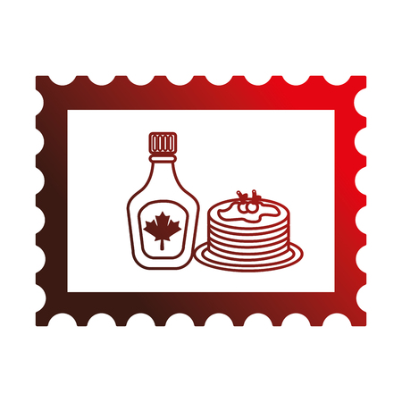 pancake and bottle syrup in postage stamp vector illustration design Ilustração