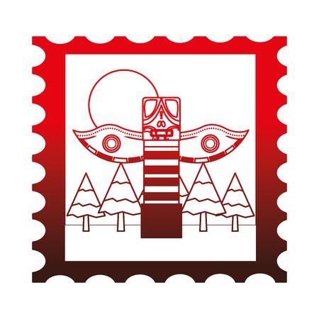 우표 벡터 일러스트 레이 션 디자인에 캐나다 토템 일러스트