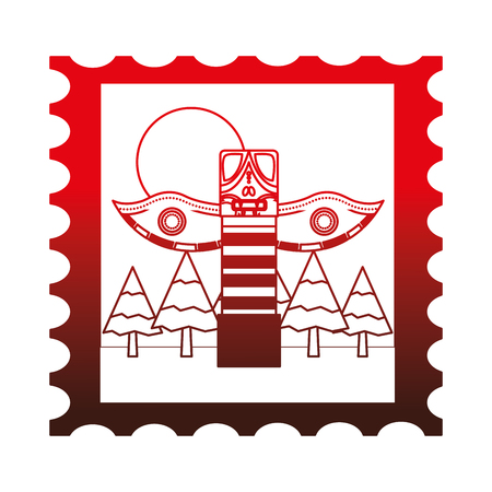 canadian totem in postage stamp vector illustration design