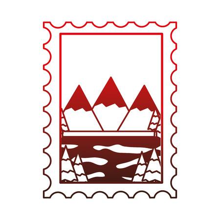Montañas y lago en sello de diseño de ilustración vectorial Foto de archivo - 98575308