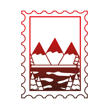 mountains and lake in postage stamp vector illustration design Çizim