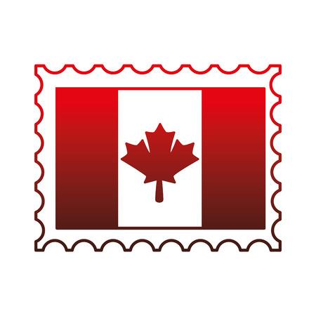 canadian flag with postage stamp vector illustration design  イラスト・ベクター素材