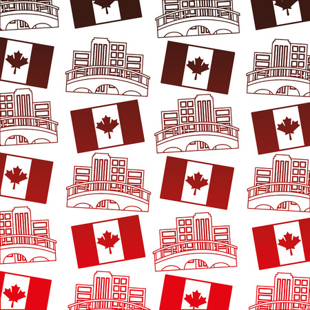 canadian flag and cityscape pattern vector illustration design