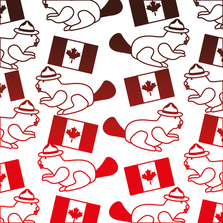 beaver with hat and canadian flag pattern vector illustration design Çizim