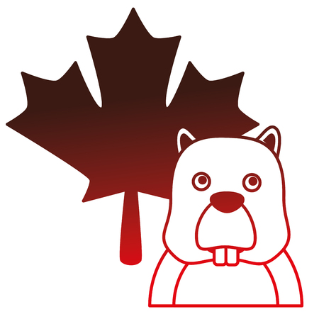 beaver with maple leaf vector illustration design Illustration