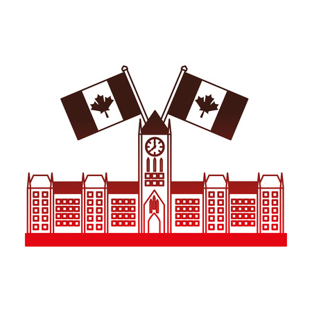 ottawa parliament building with canadian flags vector illustration desing Фото со стока - 98575372