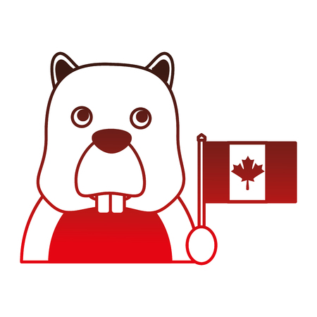 beaver with canadian flag vector illustration design