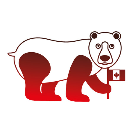 grizzly bear with canadian flag vector illustration outline Illustration