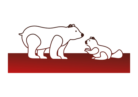 grizzly bear and beaver vector illustration design