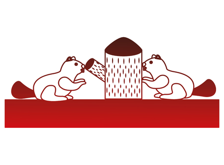 beavers with trunk tree scene vector illustration design Ilustracja